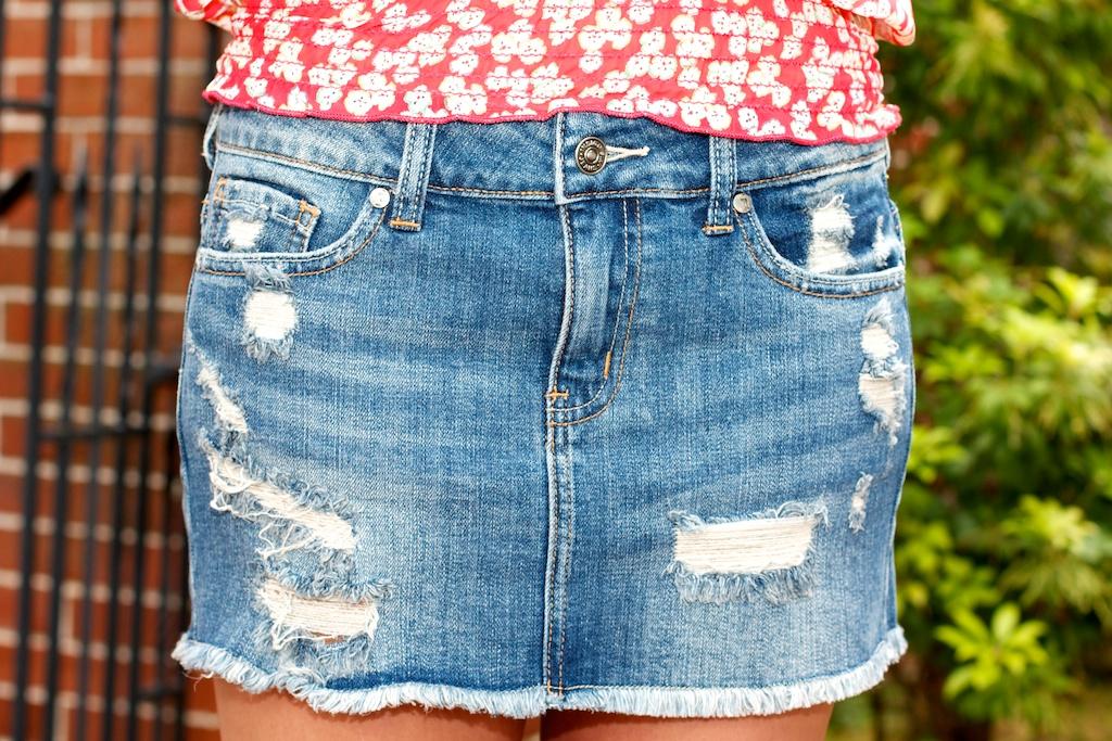 Just USA Cut-Off Destroyed Denim Skirt