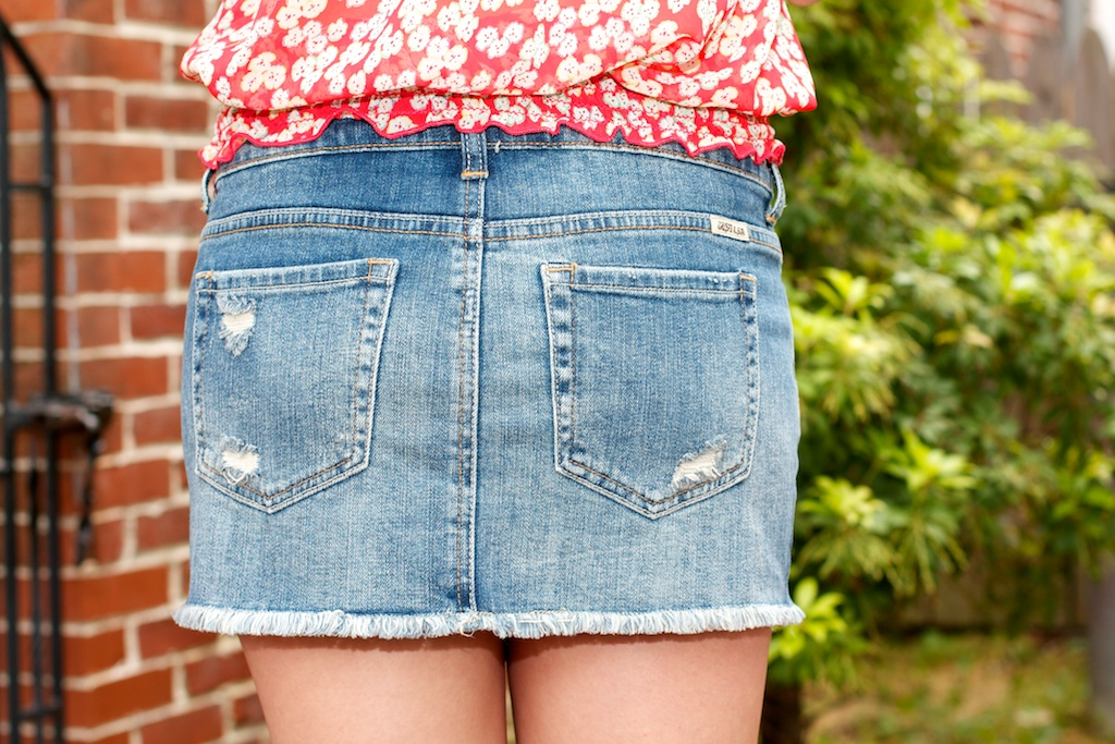 Just USA Cut-Off Destroyed Denim Skirt