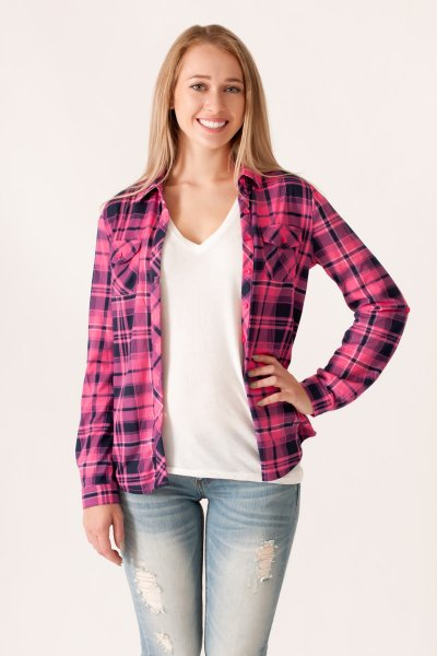 Pink and Navy Plaid Button Down