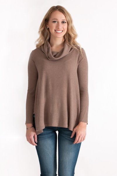 Ribbed Turtleneck Top by She and Sky