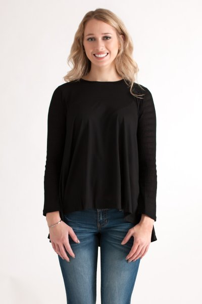 Contrast Knit Sleeve Top by She and Sky