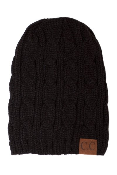 Black Cable Knit Beanie by C.C.