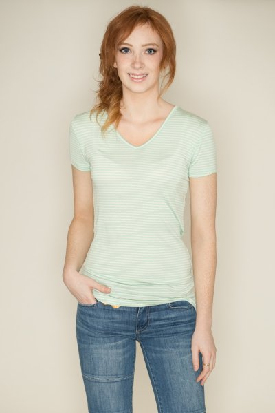 V-Neck Pinstripe Tee by Zenana