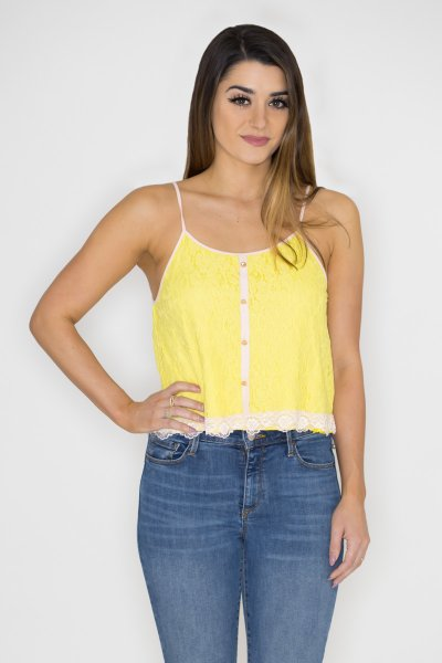 Lace Overlay Top by Machine Jeans