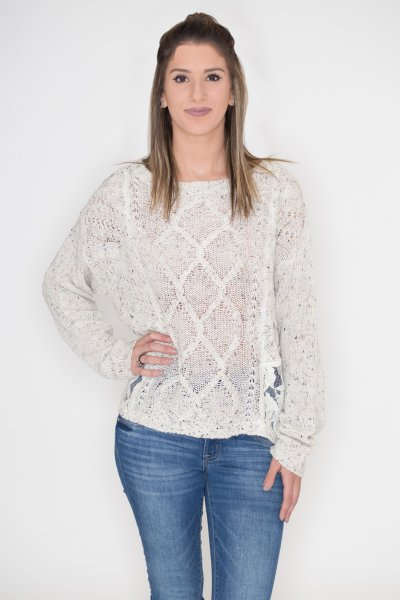 Lace Panel Cable Knit Sweater by Flying Tomato