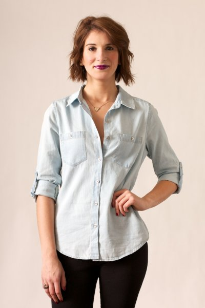 Light Denim Button Down by Wax Jean