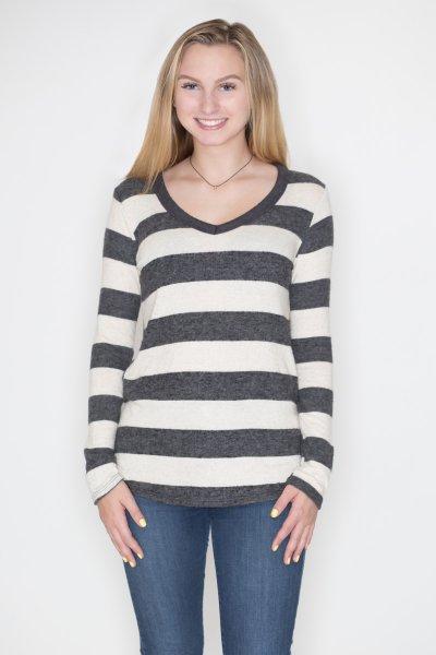 Striped V-Neck Pullover by Cherish