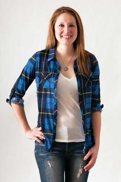 Blue And Yellow Plaid Button Down by Win Win