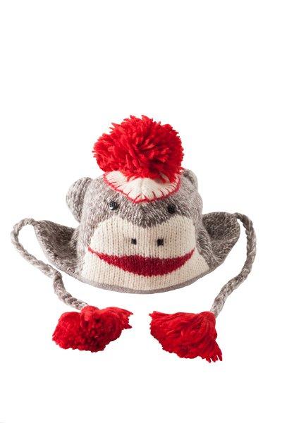 Sock Monkey Pilot Hat by Delux Knitwits