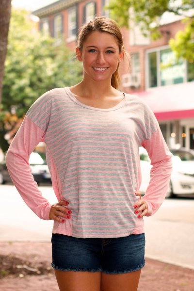 Long Sleeve Contrast Stripe Top by Ya Los Angeles