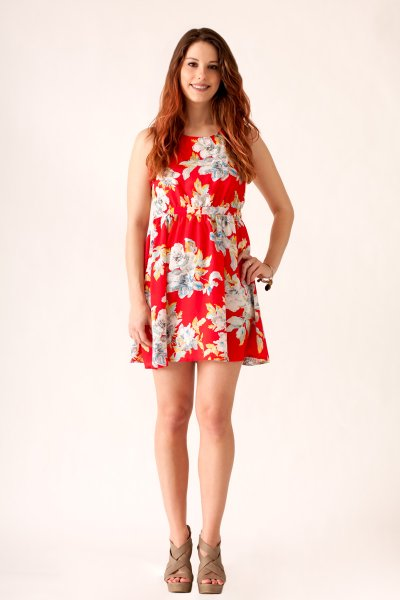 Floral Print Dress With Crochet Back by Love Point