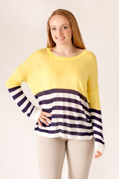 Contrast Stripes Sweater by She and Sky