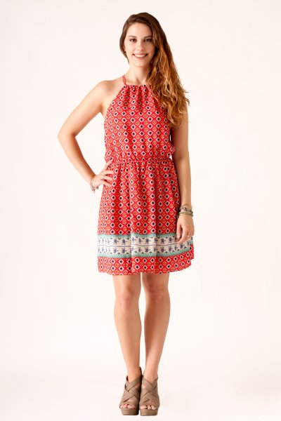 Border Print Halter Dress by NikiBiki