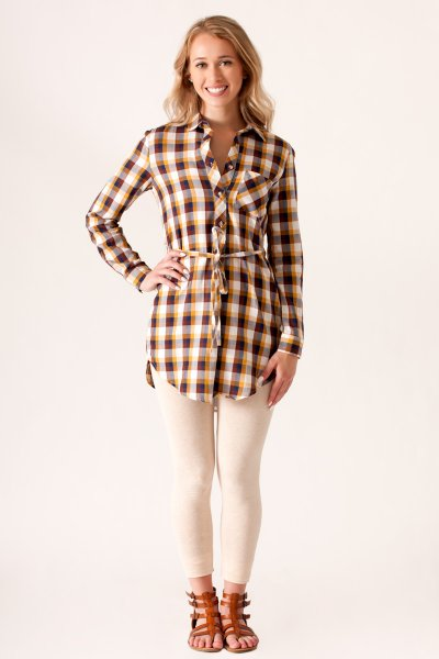 Long Sleeve Plaid Top by She and Sky