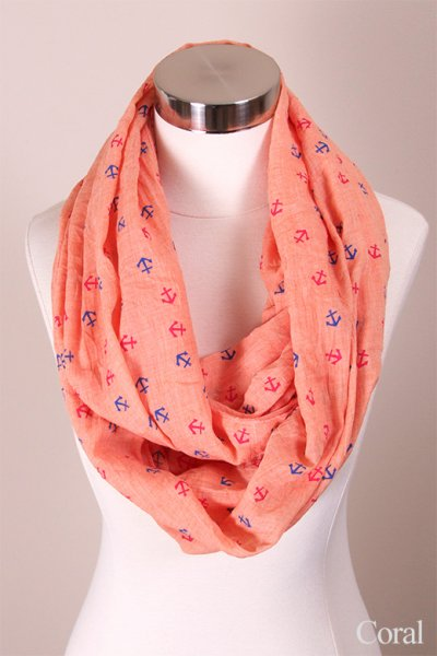 Nautical Anchor Print Infinity Scarf by Love of Fashion