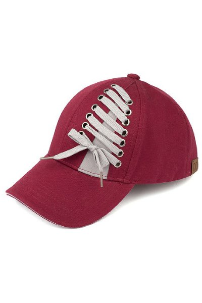 Burgundy Laced Baseball Cap by C.C.