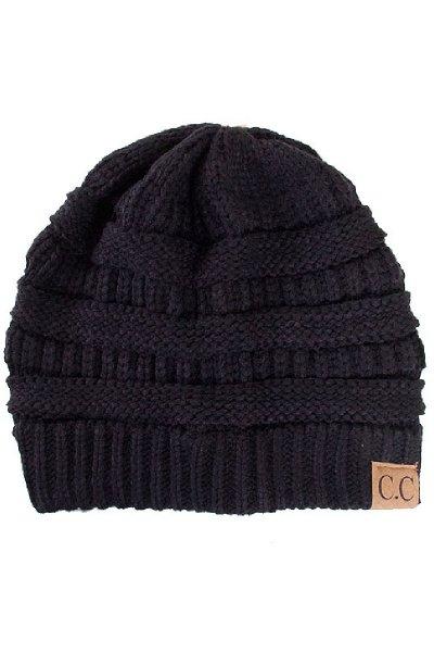 Black Knit Beanie by C.C.