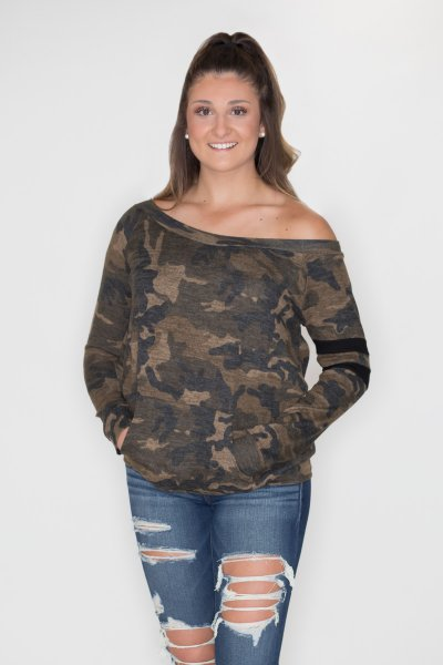 Camouflage Off Shoulder Top by Cherish