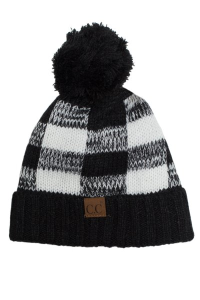 Buffalo Check Beanie with Pom Pom by C.C