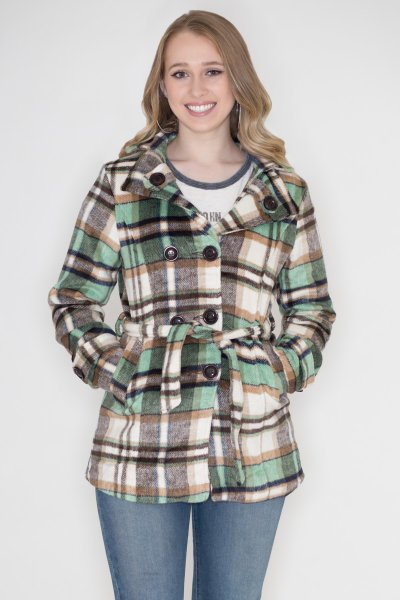 Plaid Peacoat by GeeGee