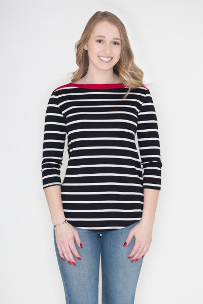 Contrast Stripe Top by Cherish