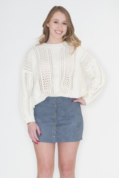 Ivory Cable-Knit Sweater by POL