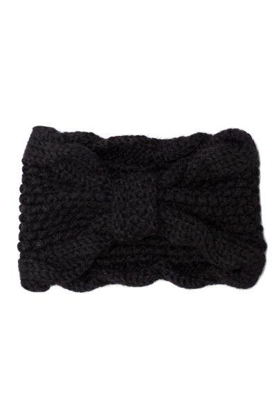 Black Bow Knit Headband