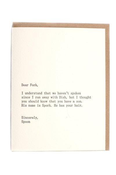 Dear Fork Card by Sapling Press