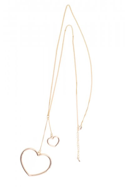 Double Heart Pendant Necklace by Must Have