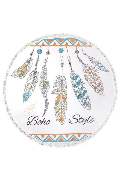 Boho Style Feather Round Beach Towel by Do Everything in Love
