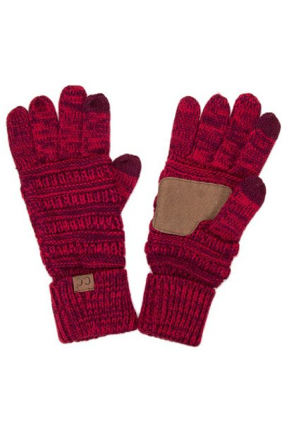 Two-Tone Red Touchscreen Compatible Gloves by C.C.