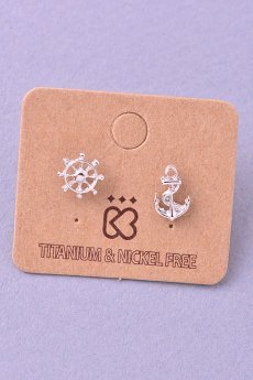 Anchor And Wheel Earrings