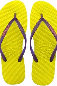 Neon Yellow Havaianas Slim Logo Popup Sandal