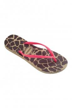 Havaianas Slim Fluorescent Animal Giraffe Sandals