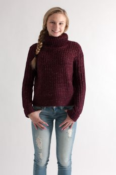 Cropped Turtleneck Sweater by She and Sky