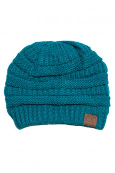 Teal Knit Beanie by C.C.