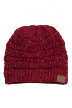 Burgundy Confetti Knit Beanie by C.C.