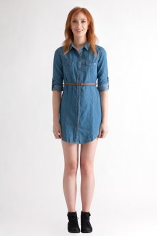 Chambray Shirt Dress by Timing