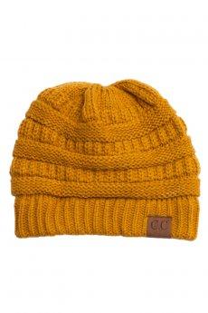 Mustard Knit Beanie by C.C.