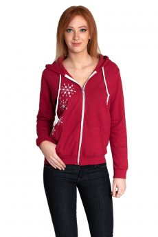 Snowflake Zip-Up Hoodie Sweatshirt by May 23