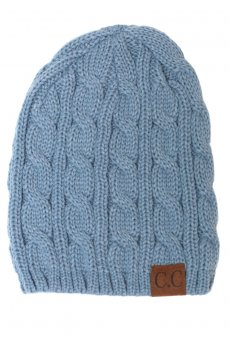 Denim Blue Cable Knit Beanie by C.C.