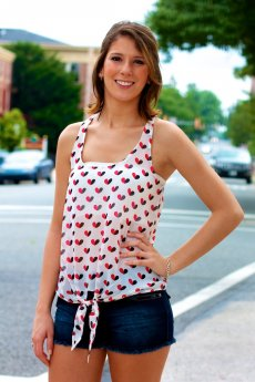 Heart Print Top by Timing