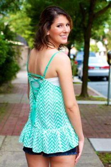 Lace Up Back Chevron Tank Top by TCEC