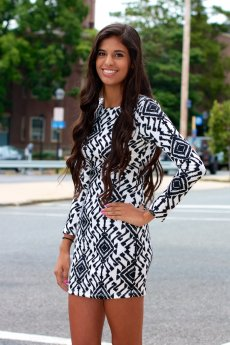 Tribal Print Fitted Dress by B Sharp