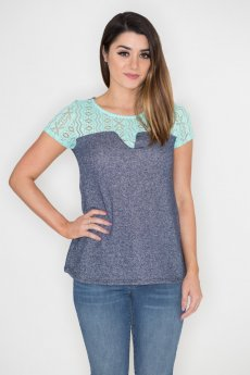 Tribal Print Lace Paneled Top by 12PM Mon Ami