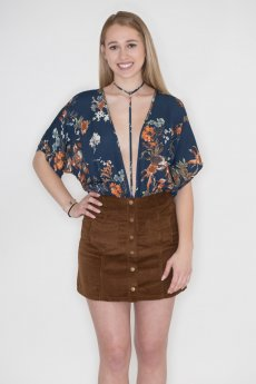 Floral Print Bodysuit by Timing