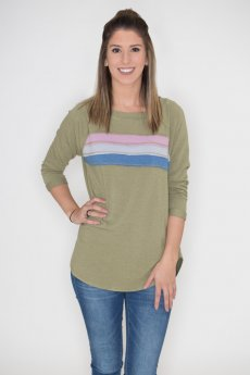 Three Quarter Sleeve Striped Raglan by Cherish