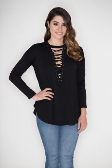 Lace Up V-Neck Top by Cherish
