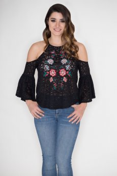 Embroidered Cold Shoulder Top by Flying Tomato