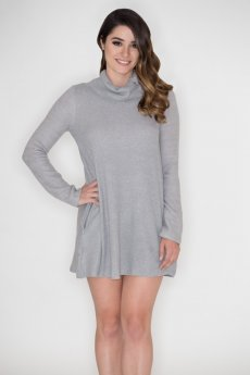 Button Cowl Neck Dress by Cherish